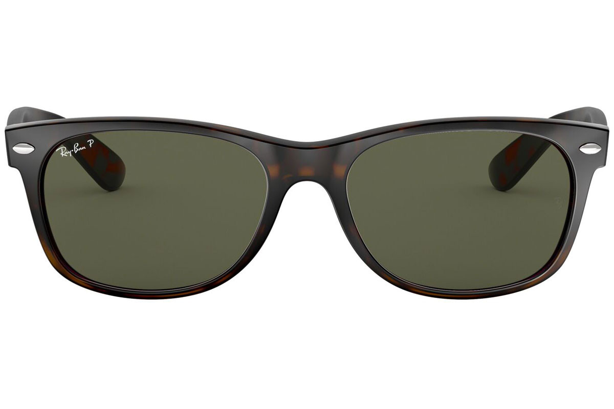 Ray-Ban New Wayfarer Classic RB2132 902/58 Polarized. Kolor oprawek: Havana, Kolor Soczewek: Zielona, Kształt oprawki: Kwadratowe
