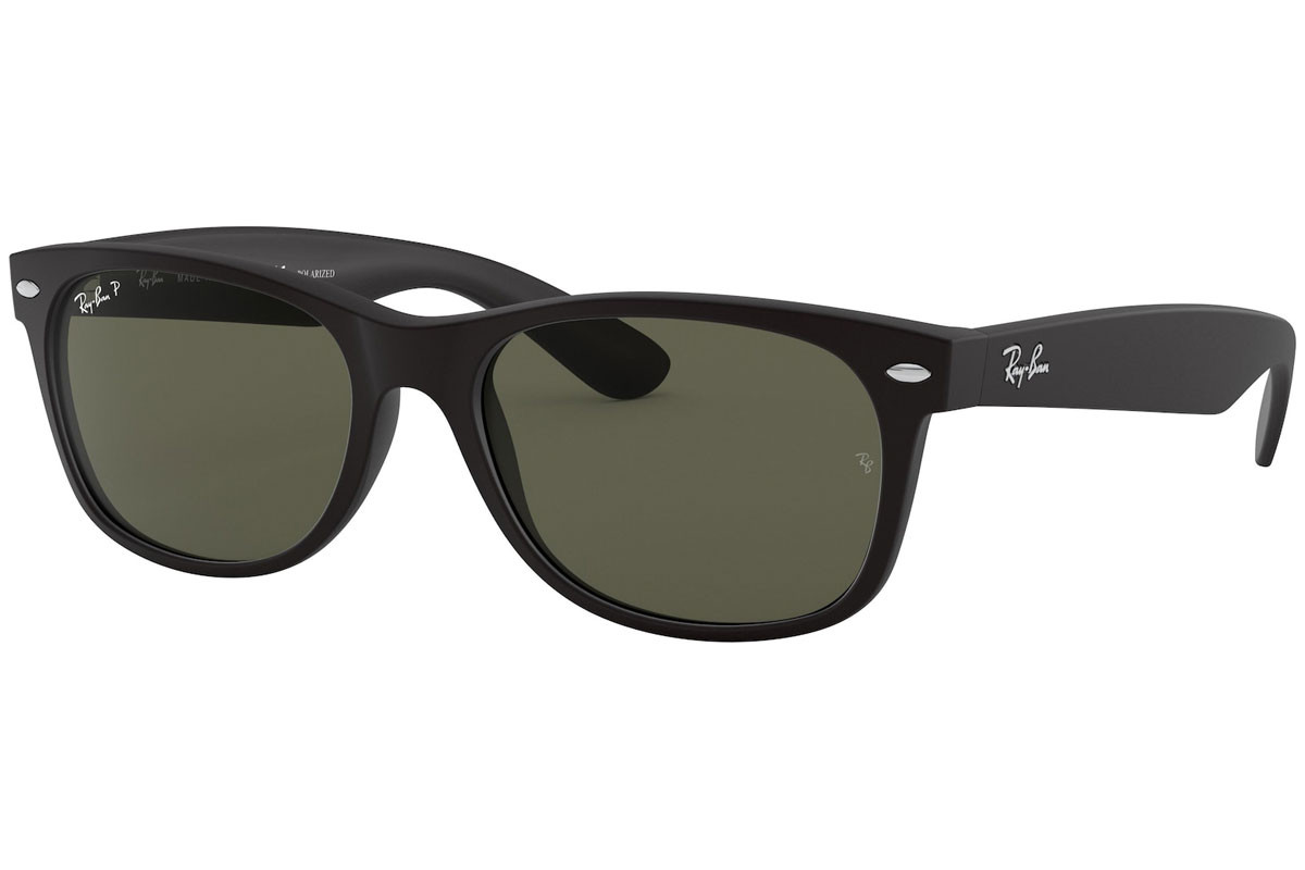 Ray-Ban New Wayfarer Classic RB2132 622/58 Polarized. Frame color: Черна, Lens color: Зелена, Frame shape: Квадратни