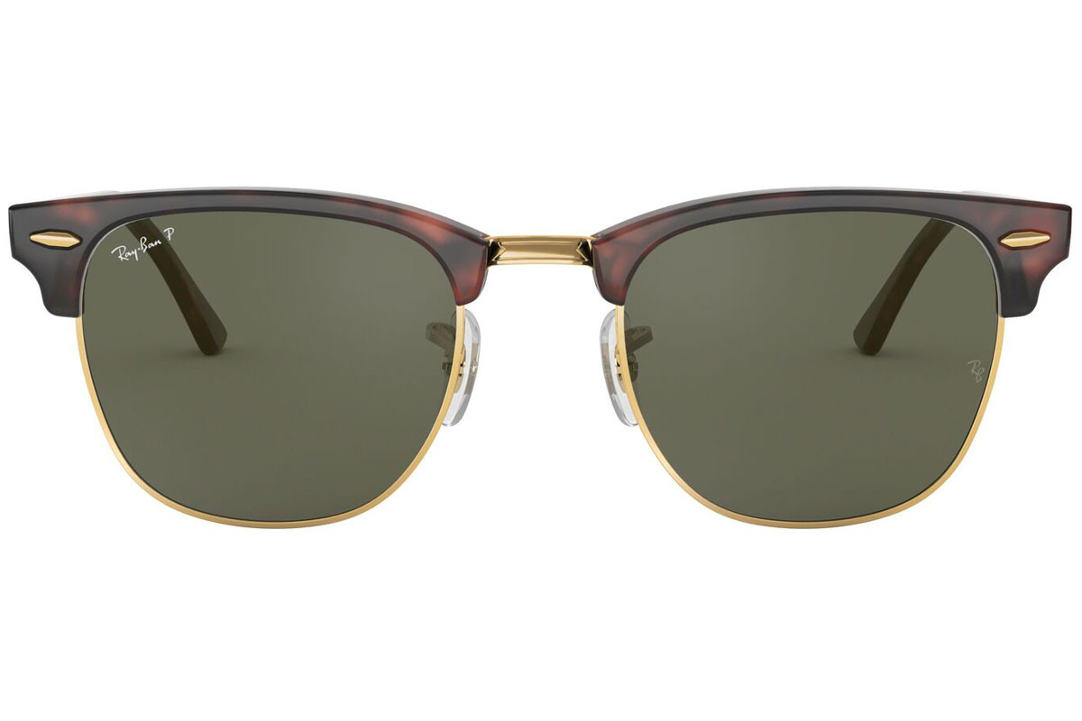 Ray-Ban Clubmaster Classic RB3016 990/58 Polarized. Frame color: Хавана, Lens color: Зелена, Frame shape: По веждите