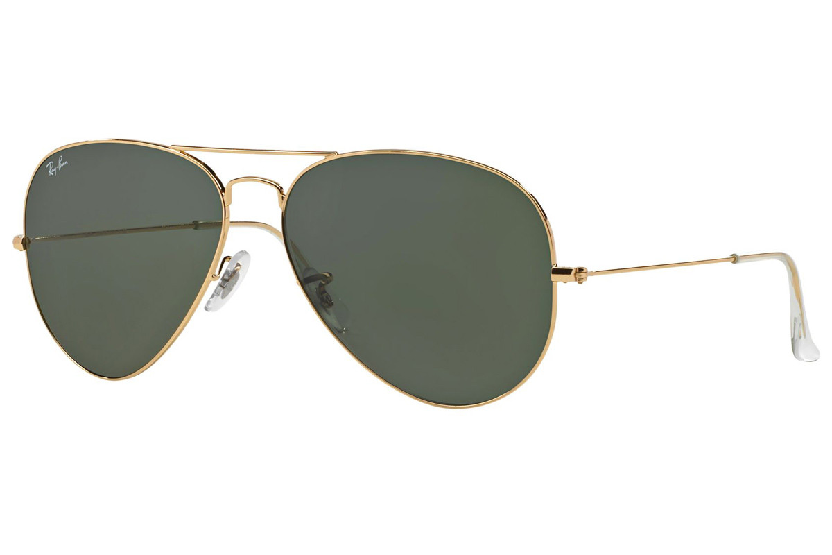Ray-Ban Aviator RB3025 001. Frame color: Zlata, Lens color: Zelena, Frame shape: Pilotska