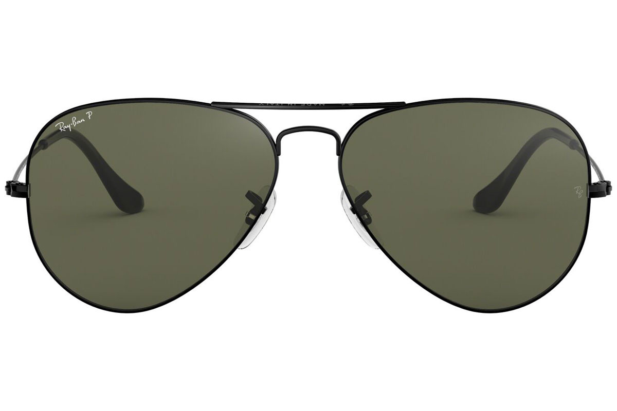 Ray-Ban Aviator Classic RB3025 002/58 Polarized. Frame color: Črna, Lens color: Zelena, Frame shape: Pilotska