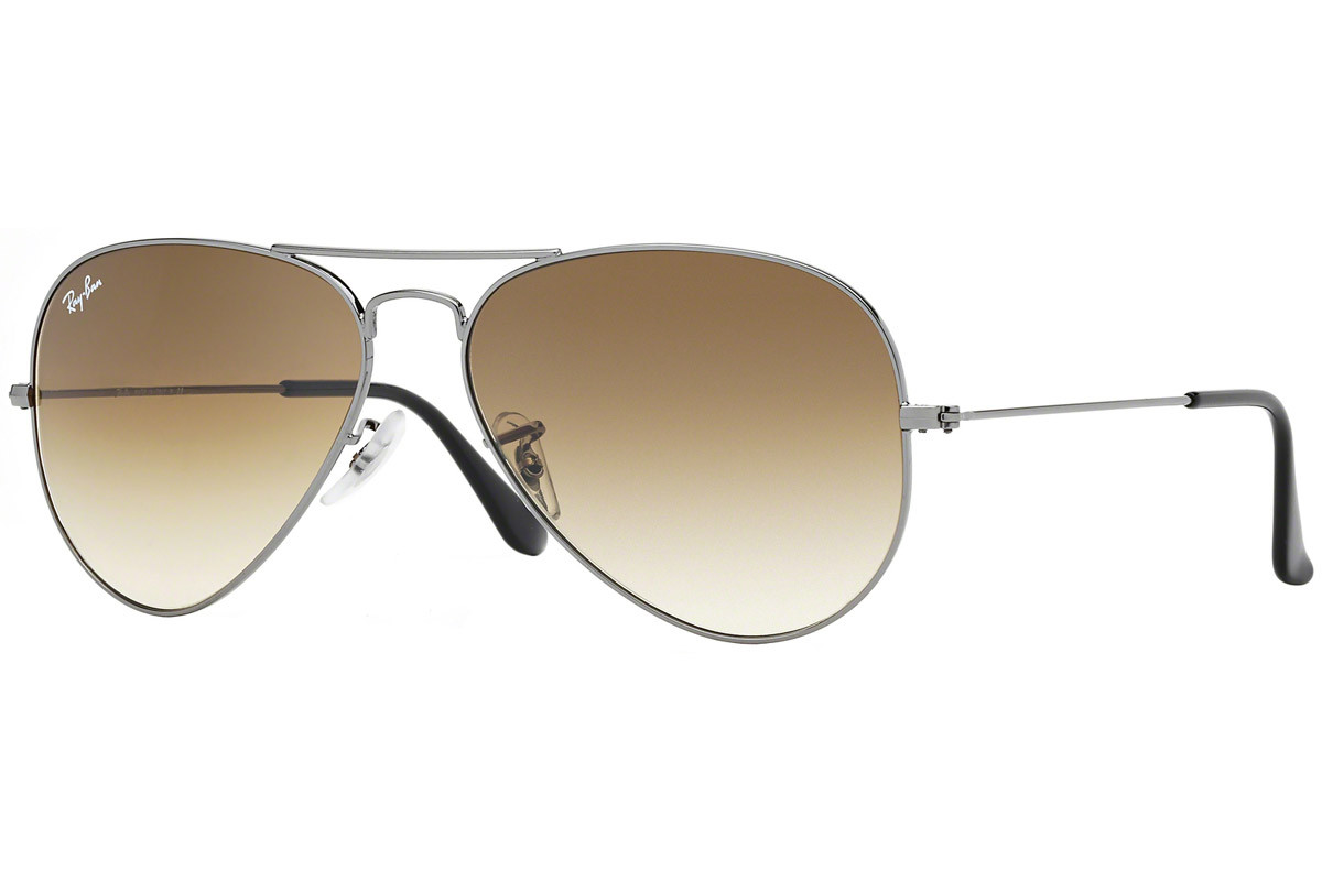 Ray-Ban Aviator Gradient RB3025 004/51. Frame color: Silver, Lens color: Brown, Frame shape: Pilot