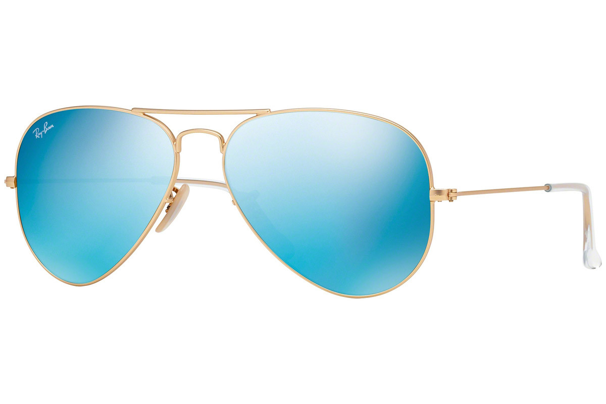 Ray-Ban Aviator Flash Lenses RB3025 112/17. Frame color: Gold, Lens color: Blue, Frame shape: Pilot