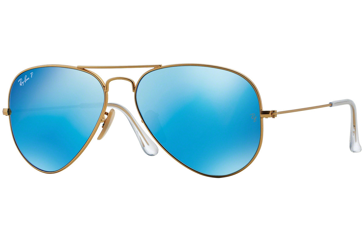 Ray-Ban Aviator Flash Lenses RB3025 112/4L Polarized. Frame color: Gold, Lens color: Blue, Frame shape: Pilot