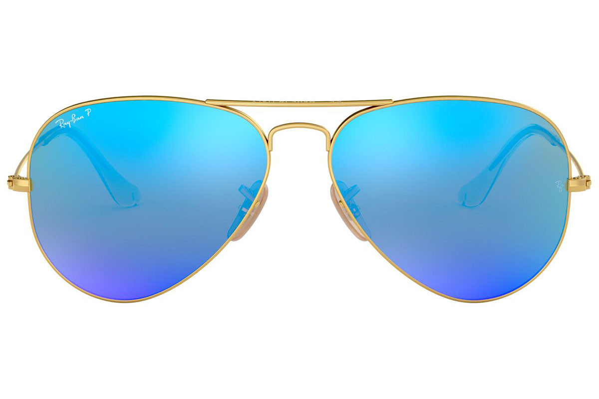 Ray-Ban Aviator Flash Lenses RB3025 112/4L Polarized. Ramfärg: Guld, Glasens Färg: Blå, Bågform: Pilot