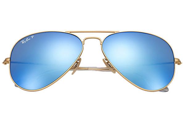 Ray-Ban Aviator Flash Lenses RB3025 112/4L Polarized. Frame color: Gold, Lens color: Blue, Frame shape: Pilot