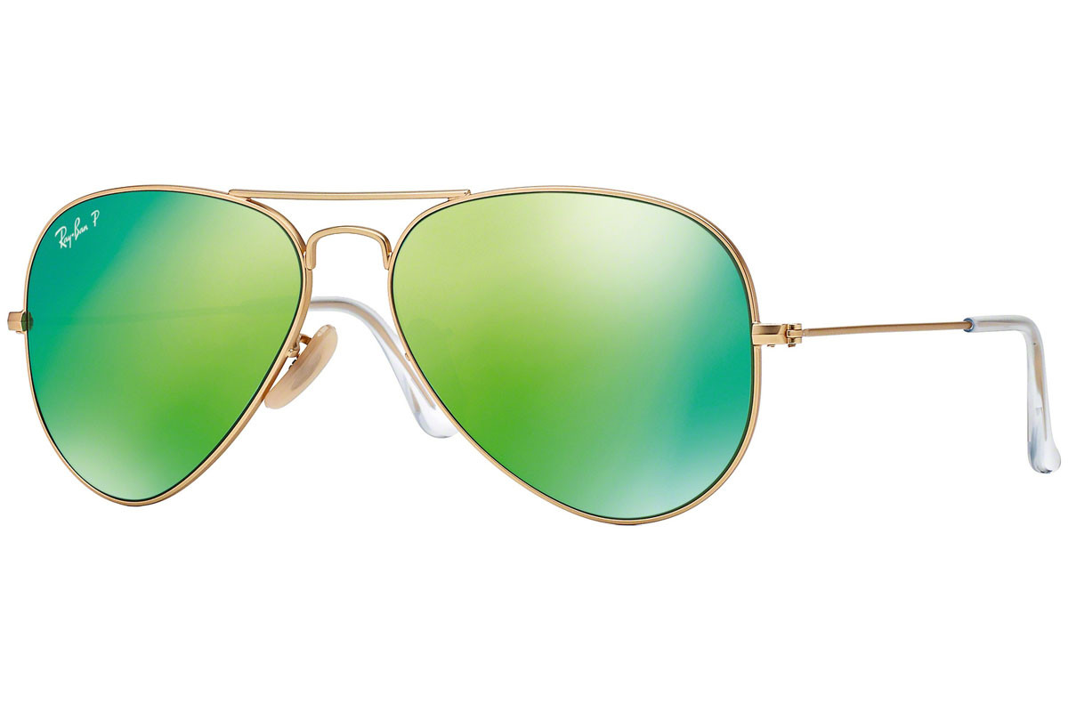 Ray-Ban Aviator Flash Lenses RB3025 112/P9 Polarized. Frame color: Zlata, Lens color: Zelena, Frame shape: Pilotska