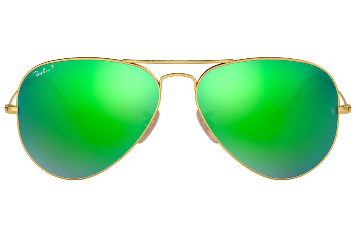 Ray-Ban Aviator Flash Lenses RB3025 112/P9 Polarized. Ramfärg: Guld, Glasens Färg: Grön, Bågform: Pilot