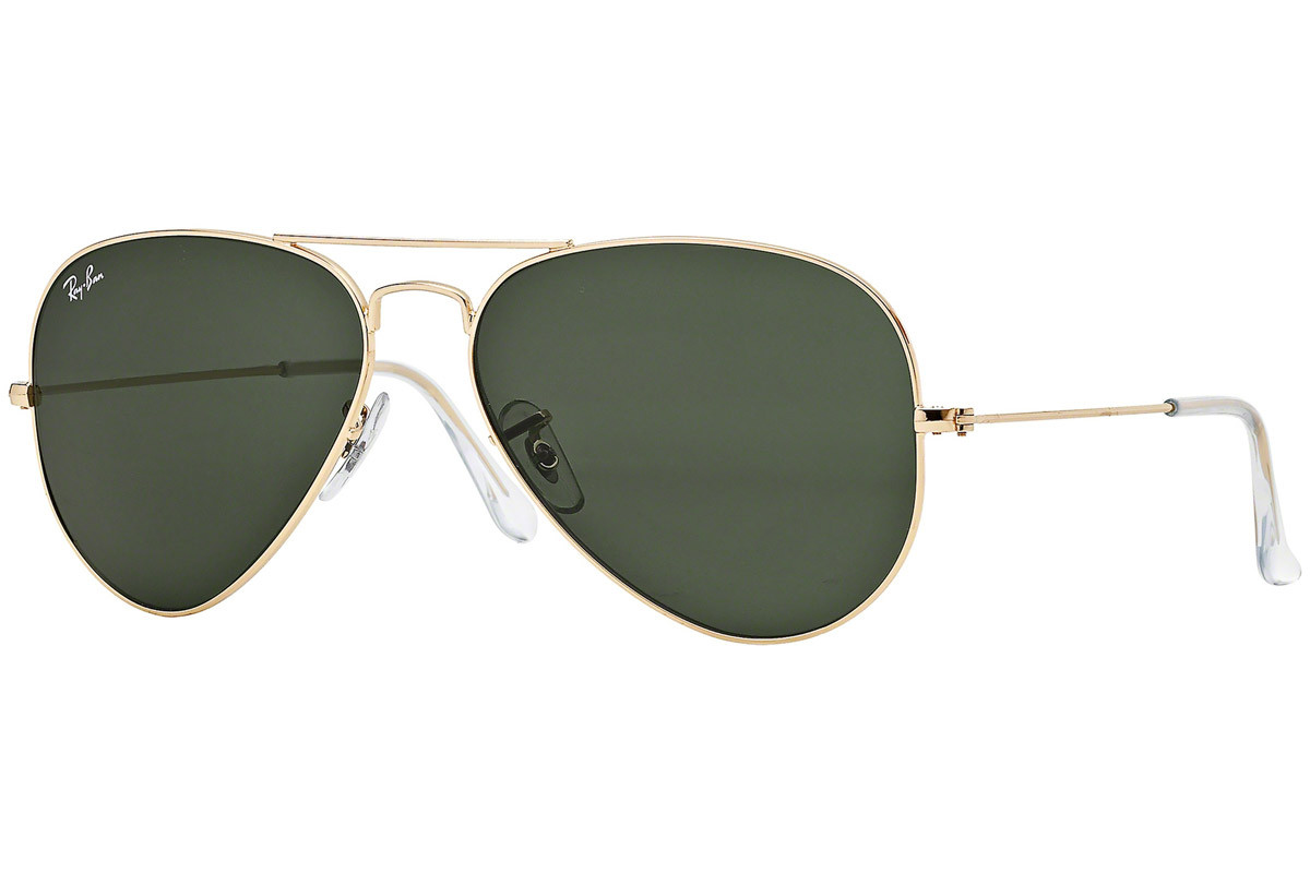 Ray-Ban Aviator Classic RB3025 L0205. Frame color: Zlata, Lens color: Zelena, Frame shape: Pilotska