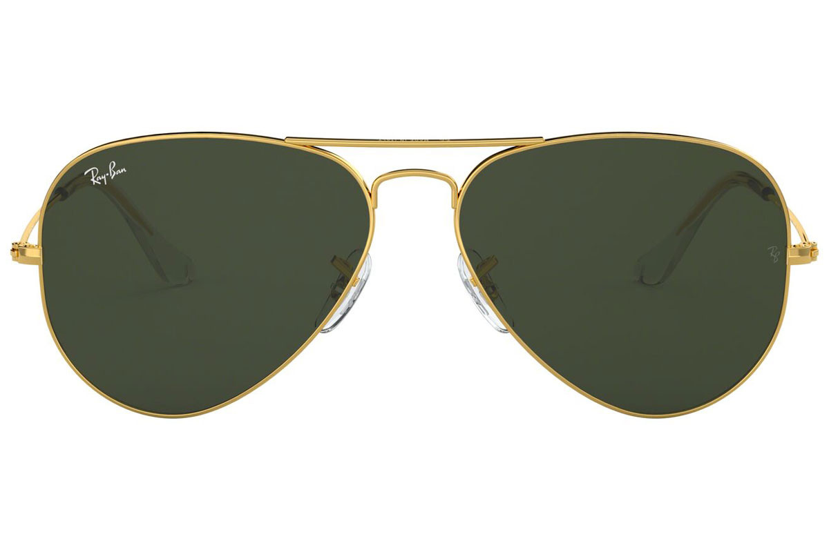 Ray-Ban Aviator RB3025 W3234. Frame color: Gold, Lens color: Green, Frame shape: Pilot