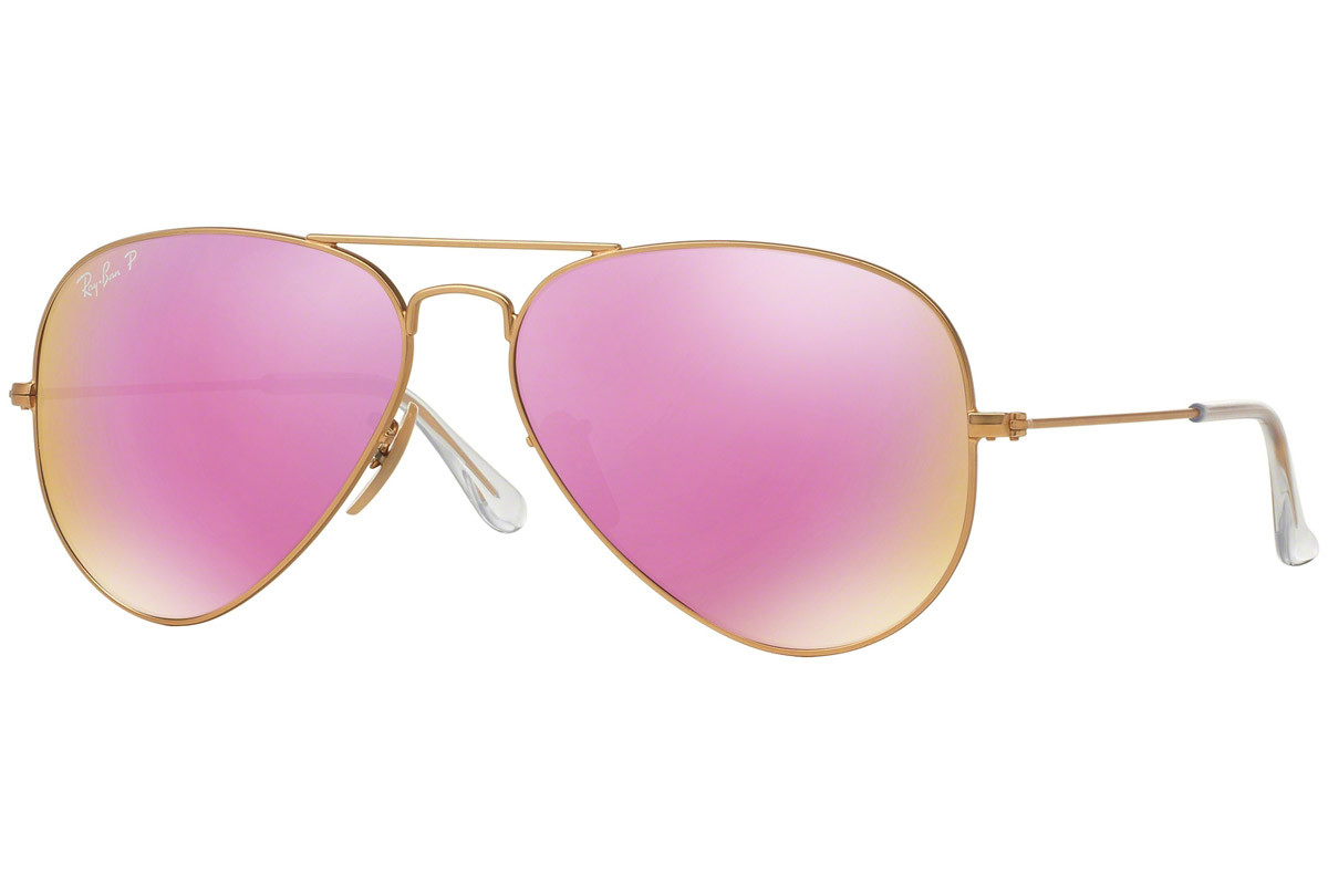 Ray-Ban Aviator Flash Lenses RB3025 112/1Q Polarized. Frame color: Gold, Lens color: Rosa, Frame shape: Pilot