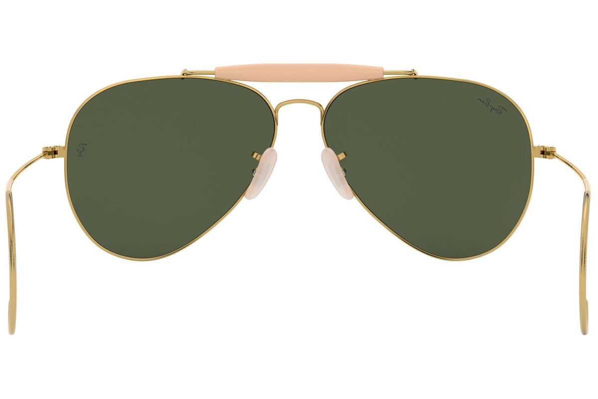 Ray-Ban Outdoorsman RB3030 L0216. Frame color: Zlatni, Lens color: Zeleni, Frame shape: Pilotski
