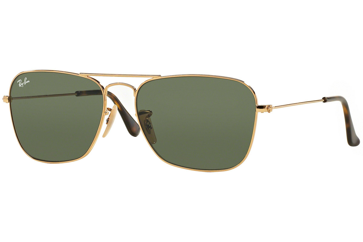 Ray-Ban Caravan RB3136 181. Frame color: Gold, Lens color: Green, Frame shape: Pilot