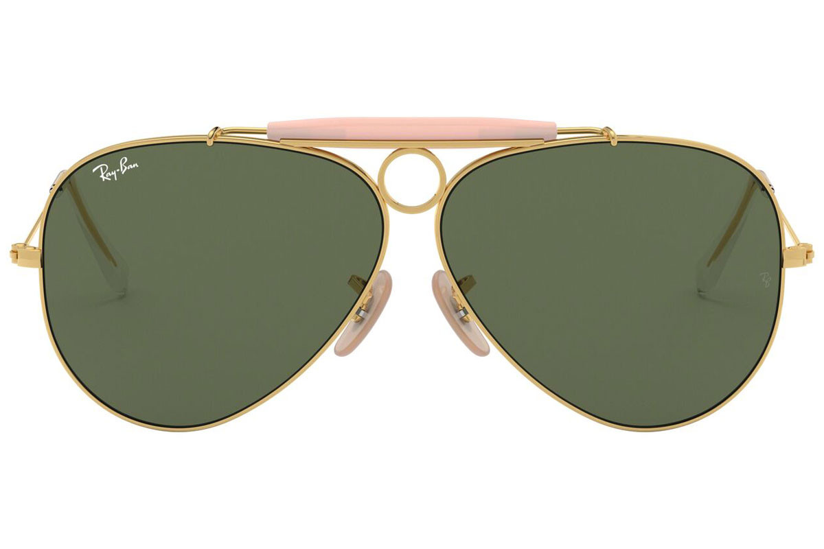 Ray-Ban Shooter Havana Collection RB3138 001. Ramfärg: Guld, Glasens Färg: Grön, Bågform: Pilot