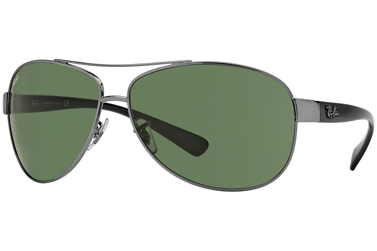 Ray-Ban RB3386 004/71. Frame color: Siva, Lens color: Zelena, Frame shape: Pilotska