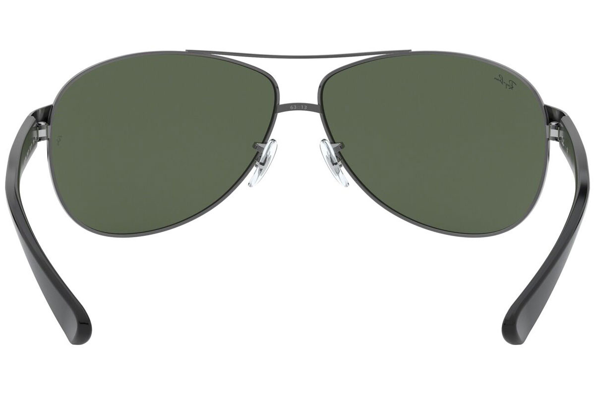 Ray-Ban RB3386 004/71. Frame color: Сива, Lens color: Зелена, Frame shape: Пилотни
