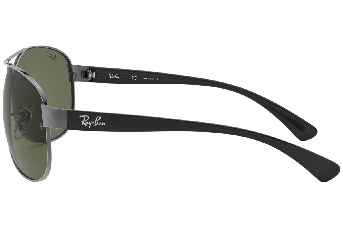 Ray-Ban RB3386 004/9A Polarized. Frame color: Srebrni, Lens color: Zeleni, Frame shape: Pilotski