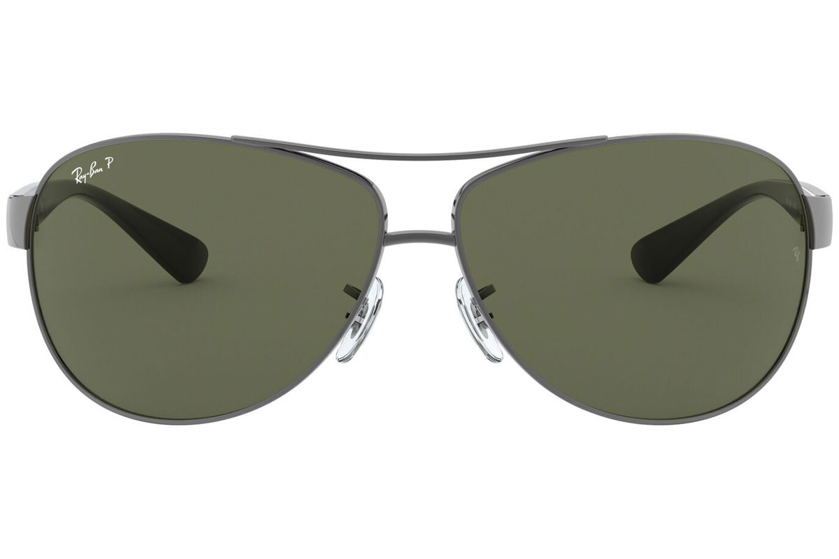 Ray-Ban RB3386 004/9A Polarized. Frame color: Silver, Lens color: Green, Frame shape: Pilot