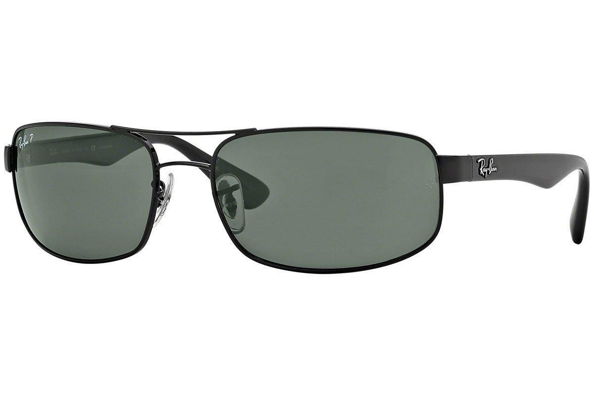 Ray-Ban RB3445 002/58 Polarized. Frame color: Black, Lens color: Green, Frame shape: Rectangular