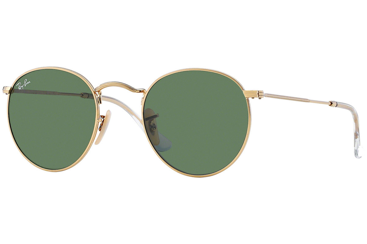 Ray-Ban Round Metal RB3447 001. Frame color: Gold, Lens color: Green, Frame shape: Round
