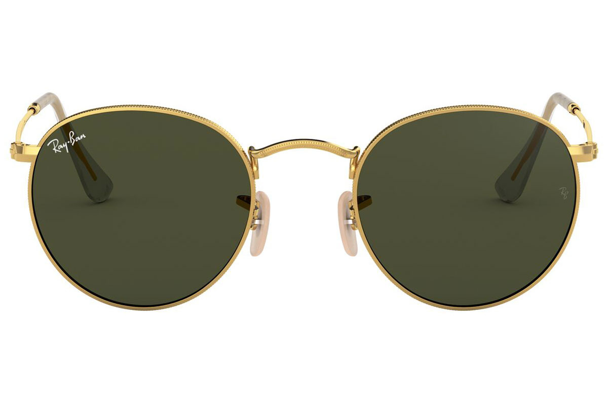 Ray-Ban Round Metal RB3447 001. Frame color: Златна, Lens color: Зелена, Frame shape: Заоблени