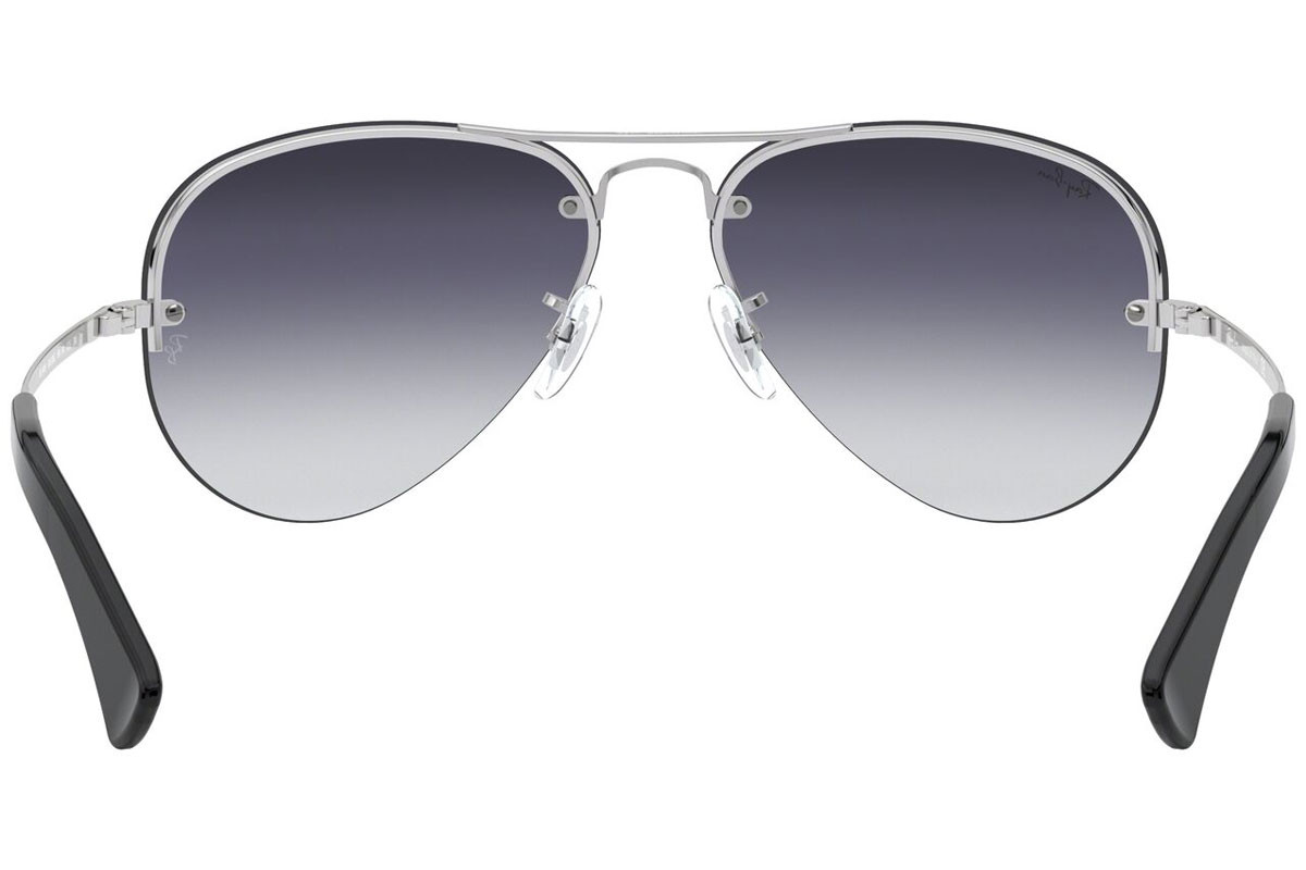 Ray-Ban RB3449 003/8G. Frame color: Сребърна, Lens color: Сива, Frame shape: Пилотни