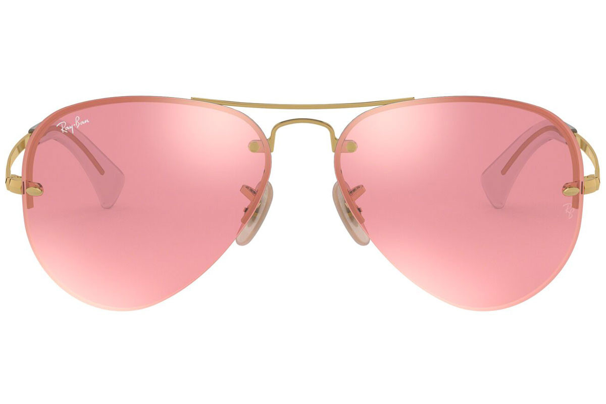 Ray-Ban RB3449 001/E4. Frame color: Gold, Lens color: Pink, Frame shape: Pilot