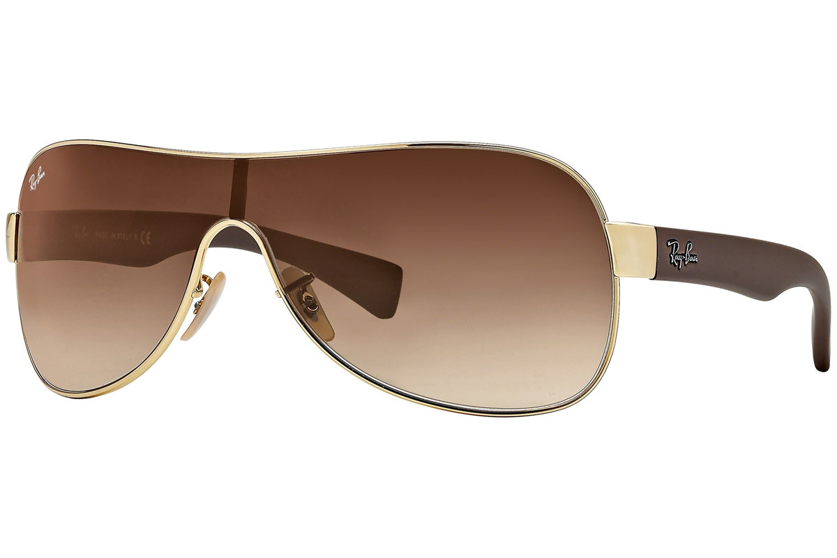 Ray-Ban RB3471 001/13. Frame color: Gold, Lens color: Brown, Frame shape: Single Lens