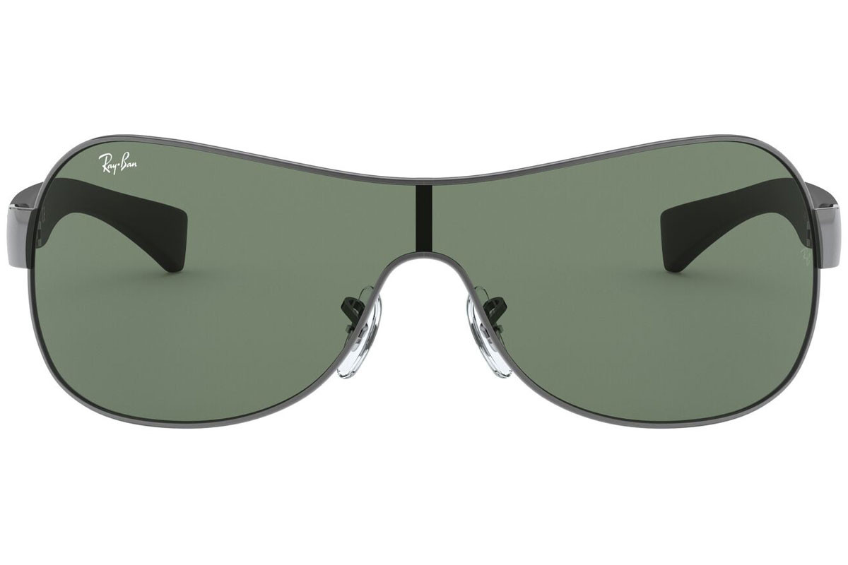 Ray-Ban RB3471 004/71. Frame color: Silver, Lens color: Green, Frame shape: Single Lens