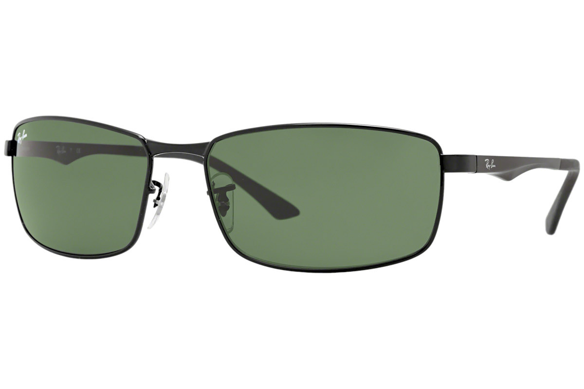 Ray-Ban RB3498 002/71. Frame color: Crni, Lens color: Zeleni, Frame shape: Pravokutan