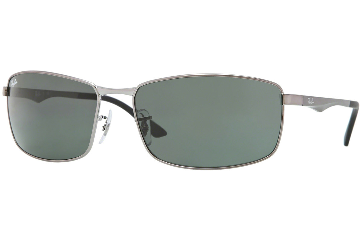 Ray-Ban RB3498 004/71. Frame color: Grey, Lens color: Green, Frame shape: Rectangular