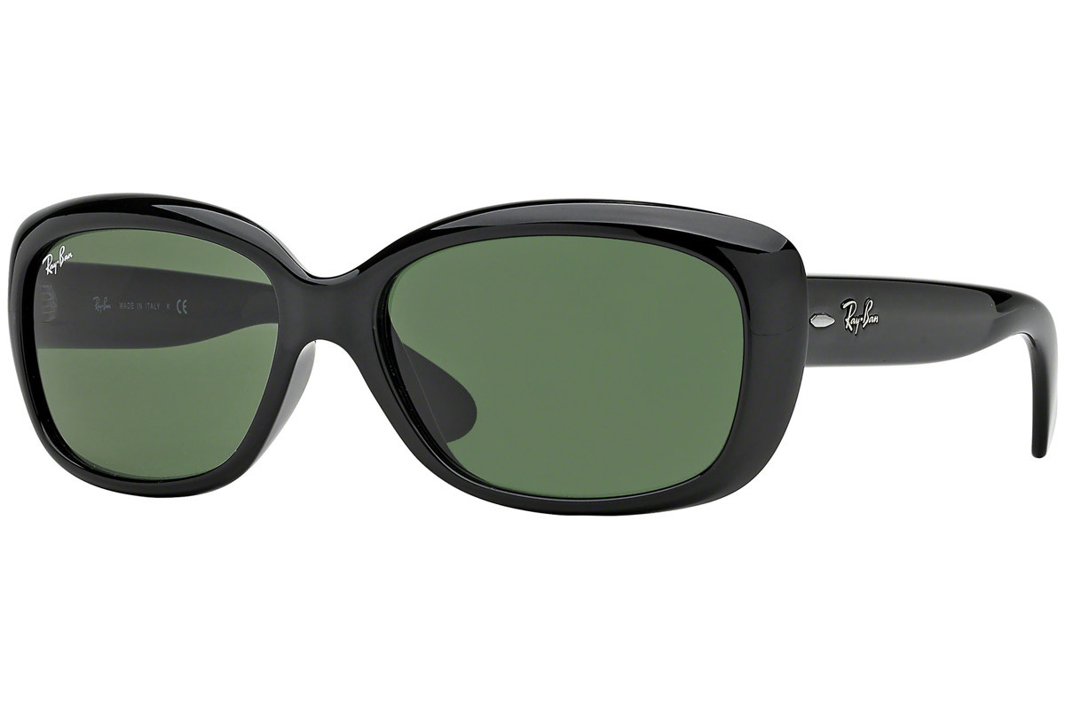 Ray-Ban Jackie Ohh RB4101 601. Frame color: Black, Lens color: Green, Frame shape: Oversize