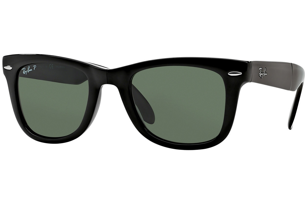 Ray-Ban Wayfarer Folding Classic RB4105 601/58 Polarized. Frame color: Schwarz, Lens color: Grün, Frame shape: Quadratisch