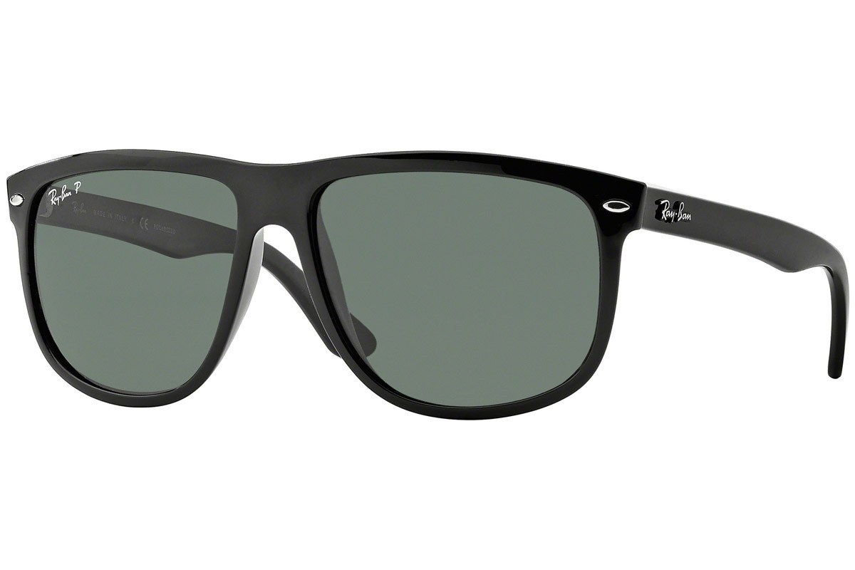 Ray-Ban RB4147 601/58 Polarized. Frame color: Black, Lens color: Green, Frame shape: Squared