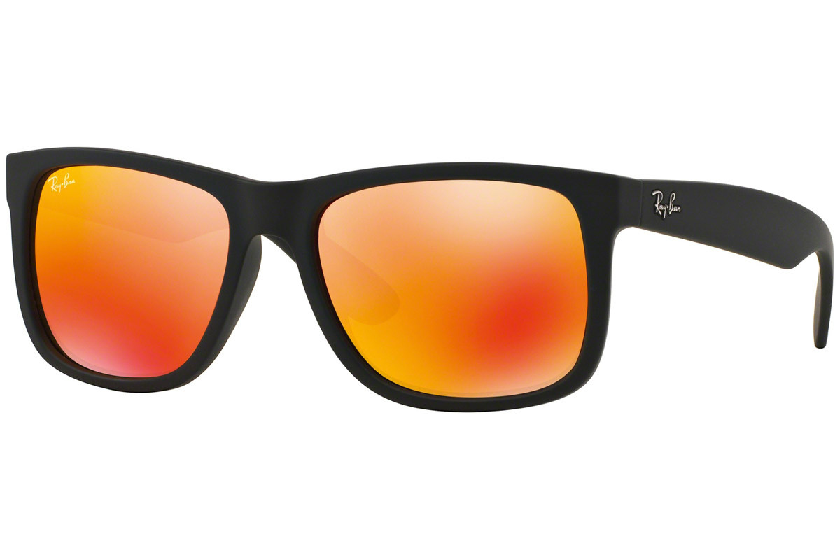 Ray-Ban Justin Color Mix RB4165 622/6Q. Frame color: Black, Lens color: Orange, Frame shape: Squared