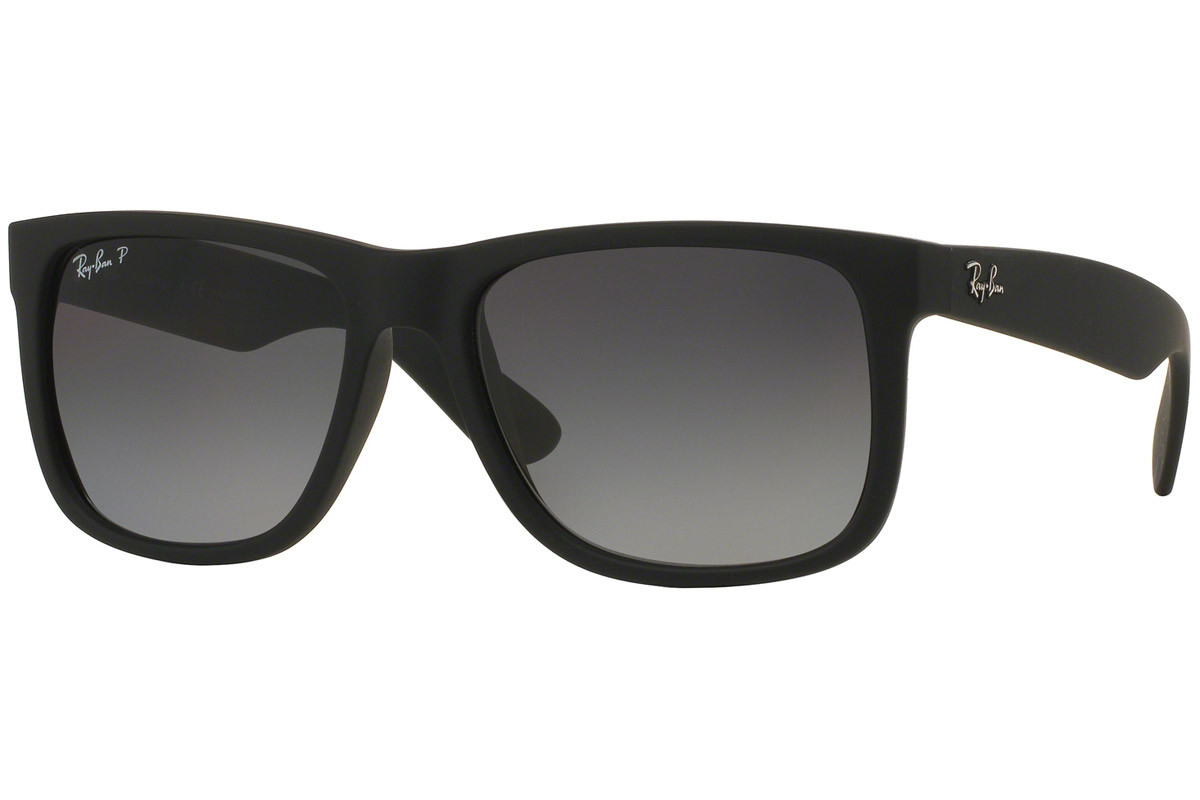Ray-Ban Justin Classic RB4165 622/T3 Polarized. Frame color: Črna, Lens color: Siva, Frame shape: Kvadratna