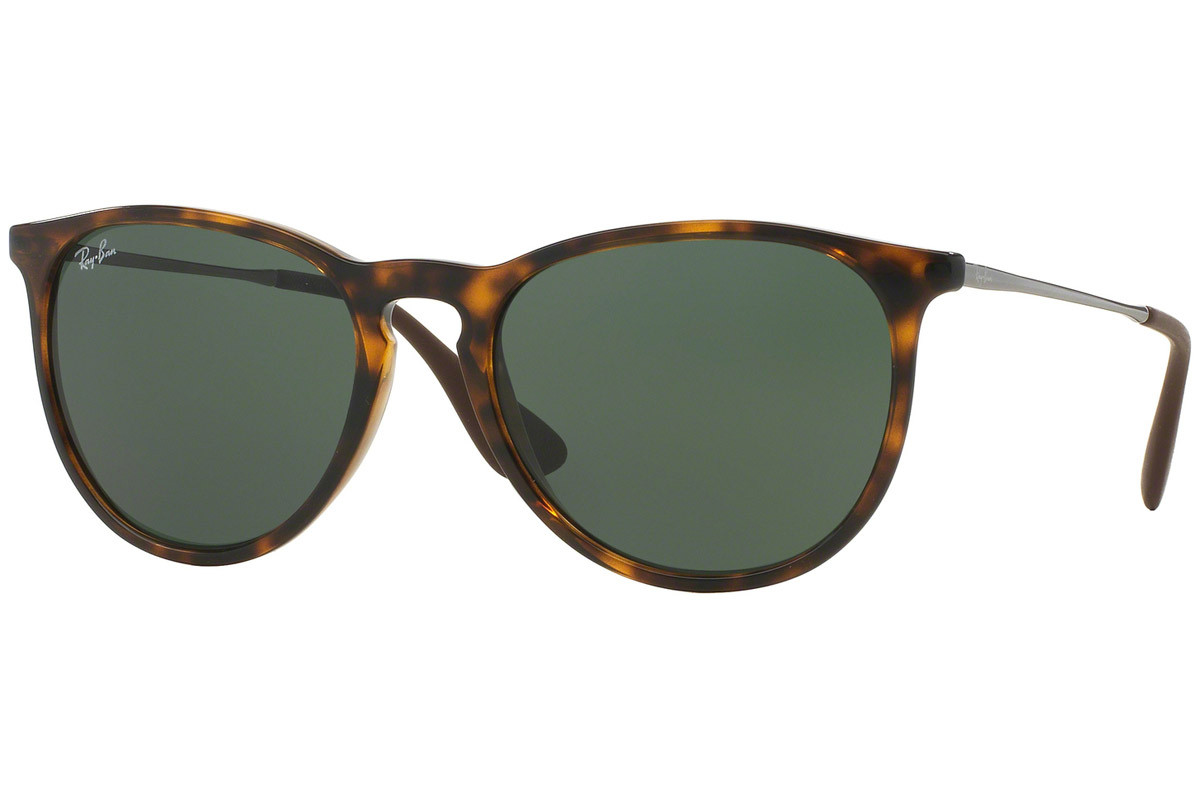 Ray-Ban Erika Classic Havana Collection RB4171 710/71. Frame color: Havana, Lens color: Green, Frame shape: Round