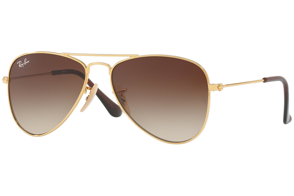 Ray-Ban Junior Aviator Junior RJ9506S 223/13. Frame color: Gold, Lens color: Brown, Frame shape: Pilot