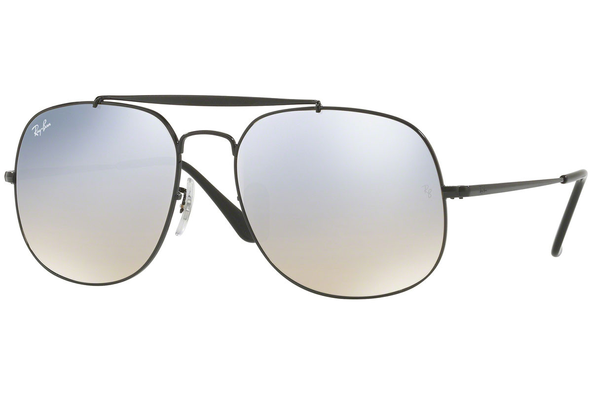 Ray-Ban General RB3561 002/9U. Frame color: Črna, Lens color: Srebrna, Frame shape: Pilotska