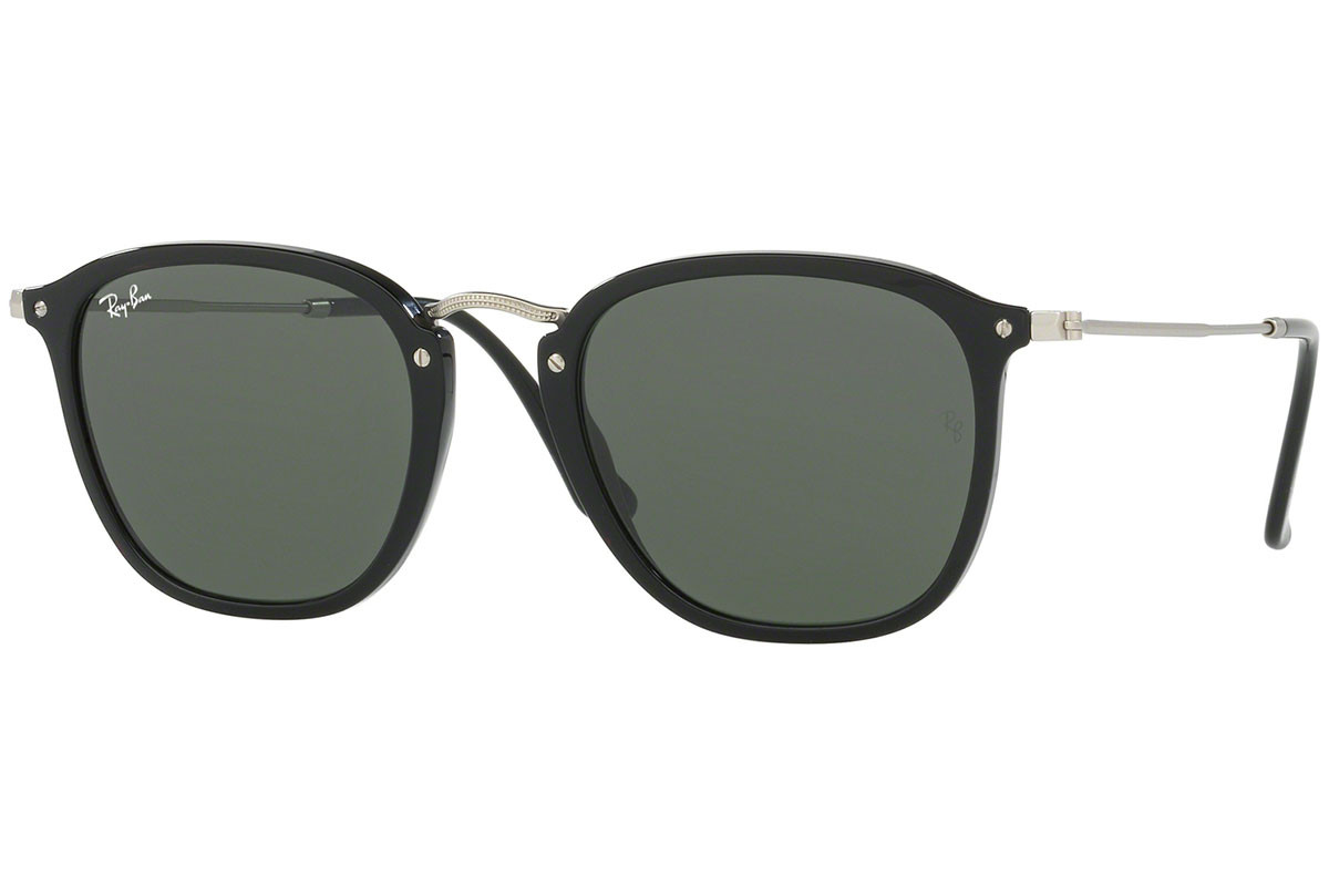 Ray-Ban RB2448N 901. Frame color: Black, Lens color: Green, Frame shape: Squared