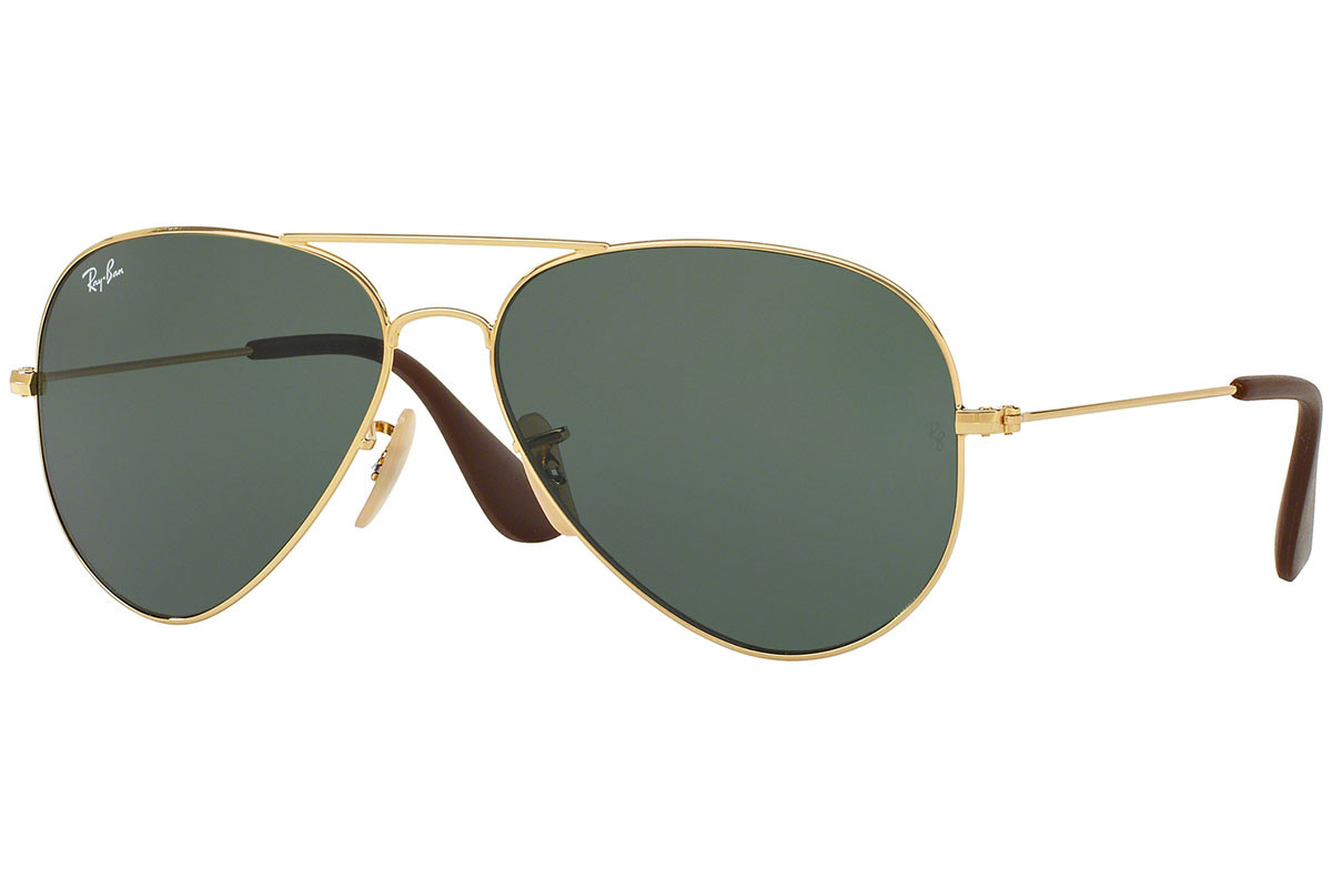 Ray-Ban RB3558 001/71. Frame color: Zlatni, Lens color: Zeleni, Frame shape: Pilotski