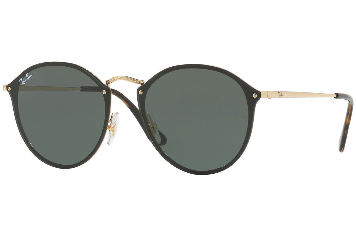 Ray-Ban Blaze Round Blaze Collection RB3574N 001/71. Frame color: Black, Lens color: Green, Frame shape: Round