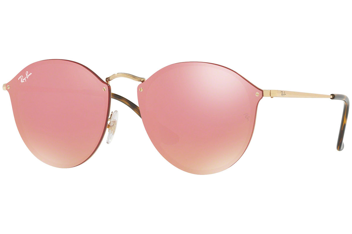 Ray-Ban Blaze Round Blaze Collection RB3574N 001/E4. Frame color: Gold, Lens color: Pink, Frame shape: Round
