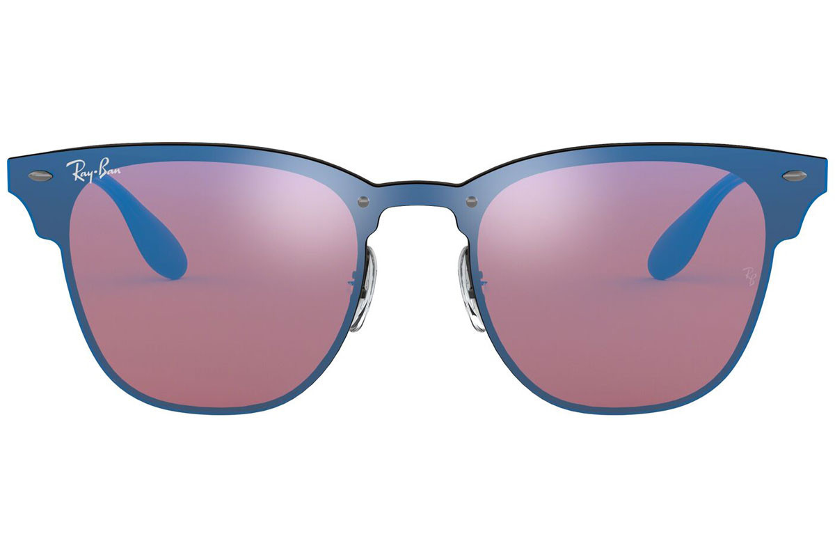 Ray-Ban Blaze Clubmaster Blaze Collection RB3576N 153/7V. Frame color: Черна, Lens color: Виолетова, Frame shape: По веждите
