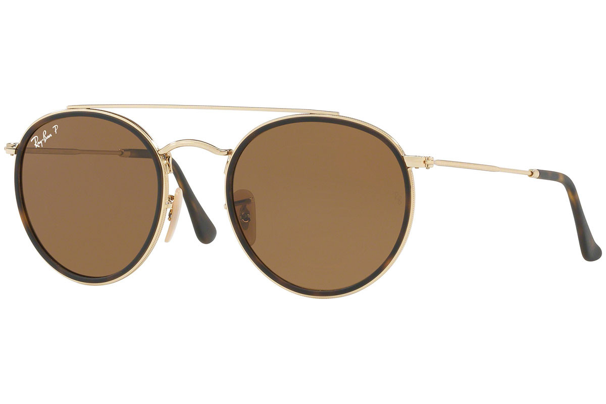 Ray-Ban Round Double Bridge RB3647N 001/57 Polarized. Frame color: Havana, Lens color: Brown, Frame shape: Round