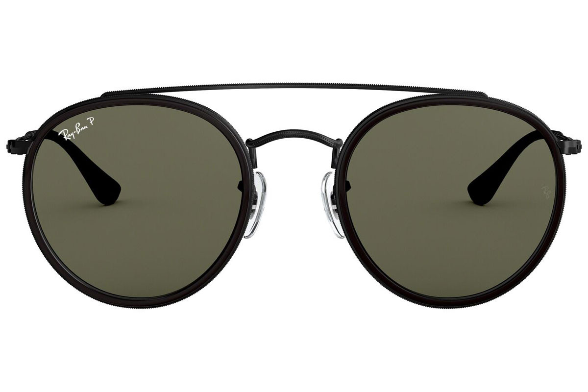Ray-Ban Round Double Bridge RB3647N 002/58 Polarized. Frame color: Black, Lens color: Green, Frame shape: Round