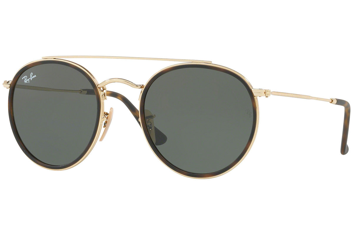 Ray-Ban Round Double Bridge RB3647N 001. Frame color: Havanna, Lens color: Grün, Frame shape: Rund