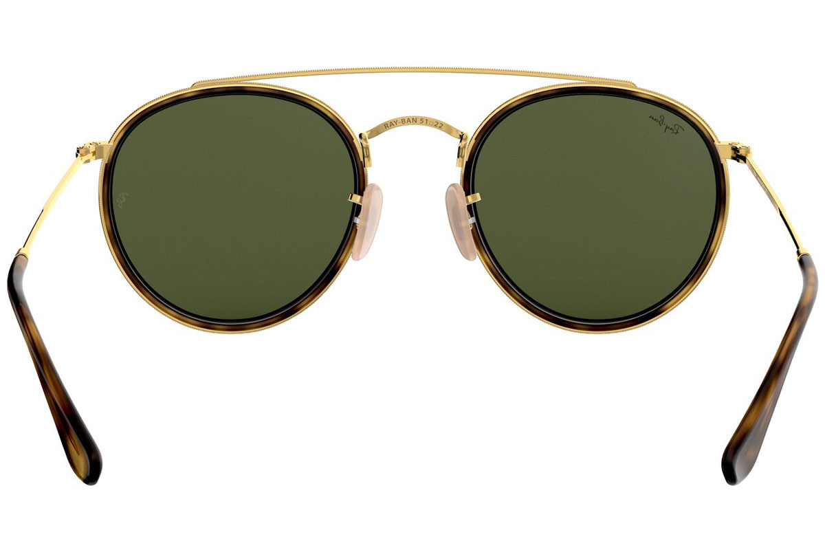 Ray-Ban Round Double Bridge RB3647N 001. Frame color: Havana, Lens color: Zeleni, Frame shape: Okrugao