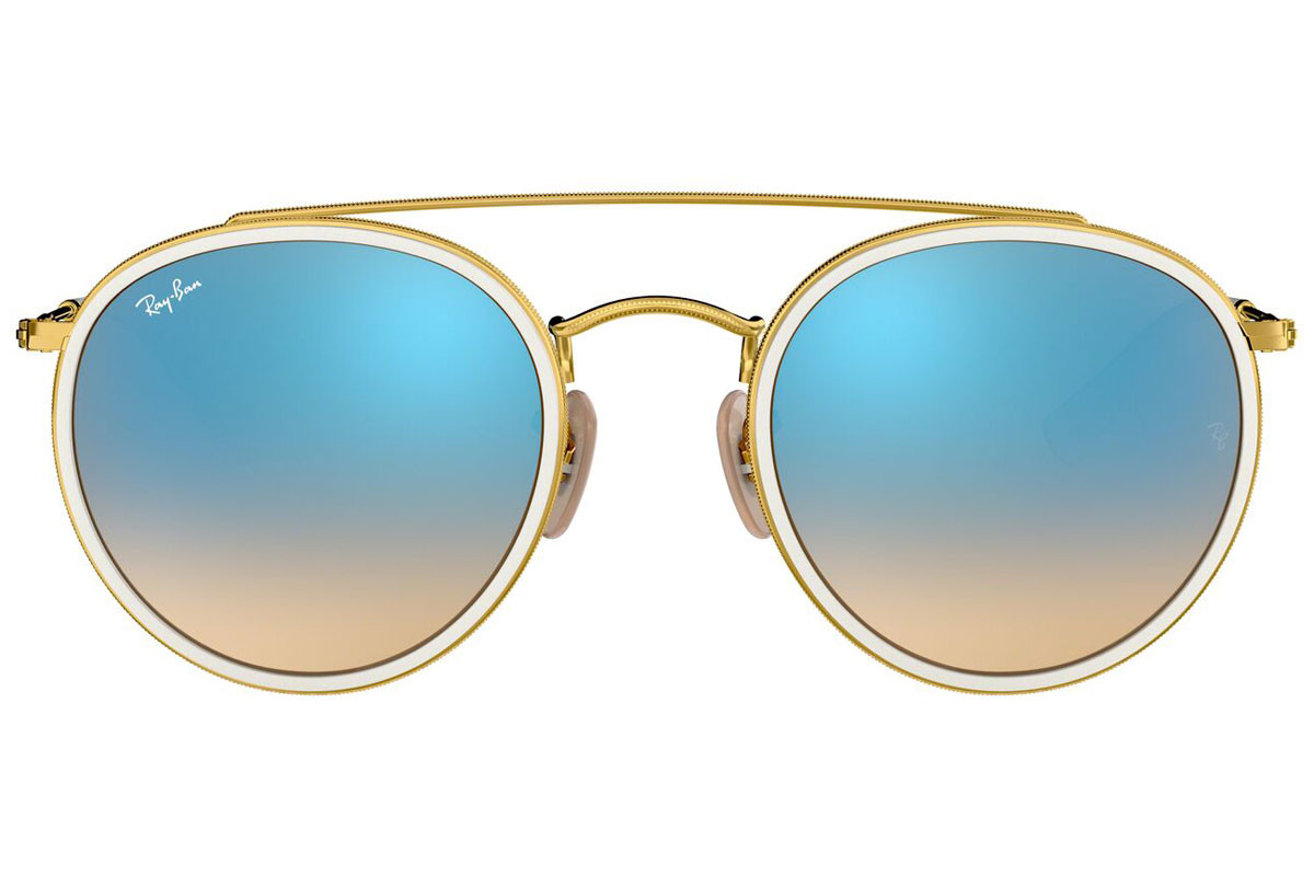 Ray-Ban Round Double Bridge RB3647N 001/4O. Frame color: Бяла, Lens color: Синя, Frame shape: Заоблени