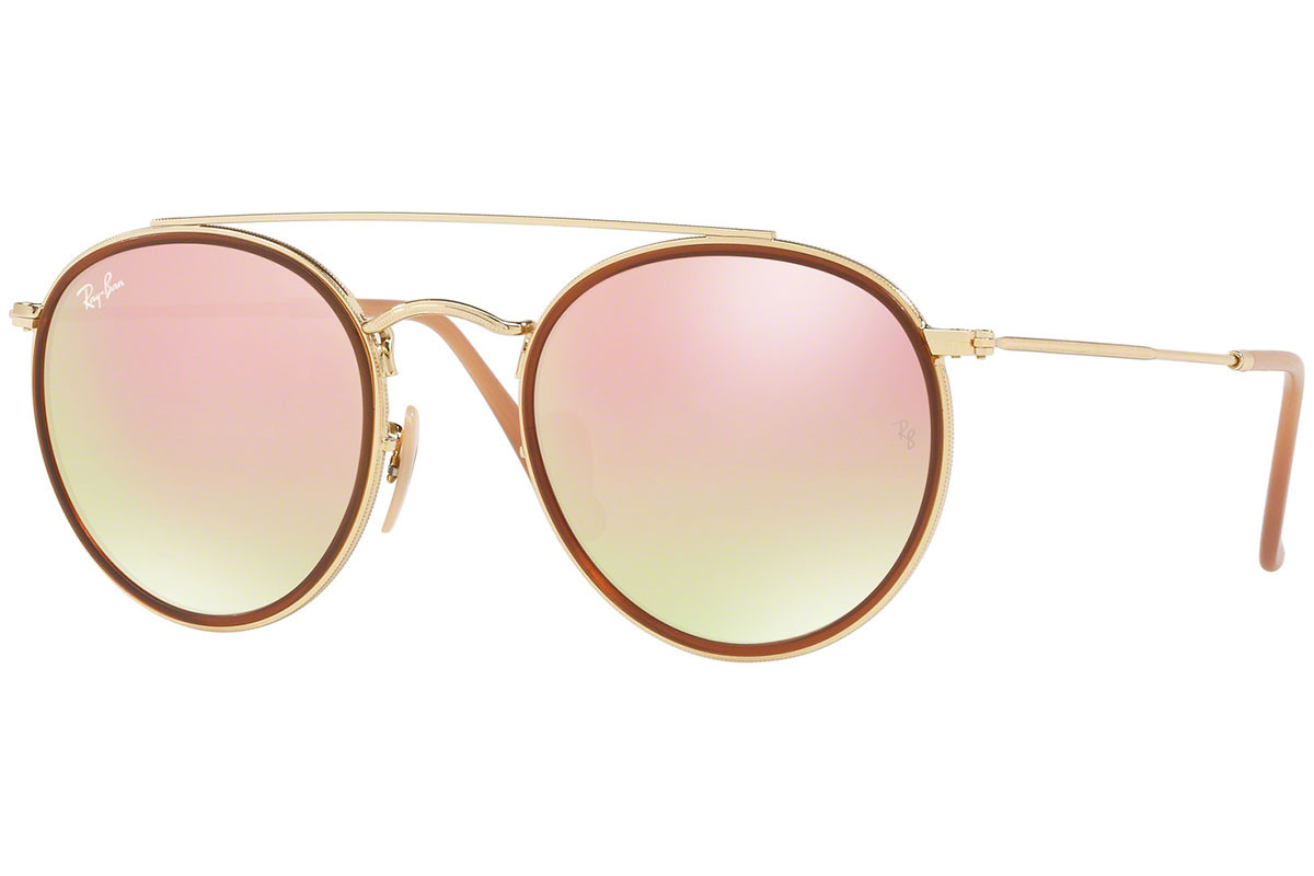 Ray-Ban Round Double Bridge RB3647N 001/7O. Frame color: Brown, Lens color: Pink, Frame shape: Round